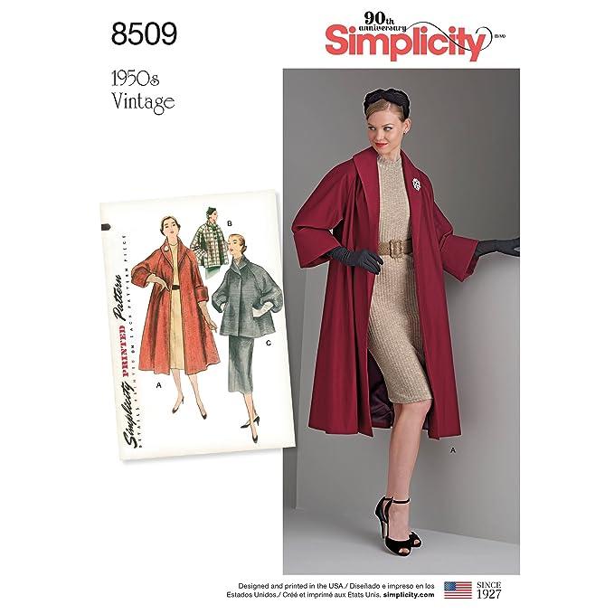 1950s Sewing Patterns | Dresses, Skirts, Tops, Mens Simplicity Vintage US8509H5 Misses Vintage Coat or Jacket Pattern H5 (6-8-10-12-14)  AT vintagedancer.com