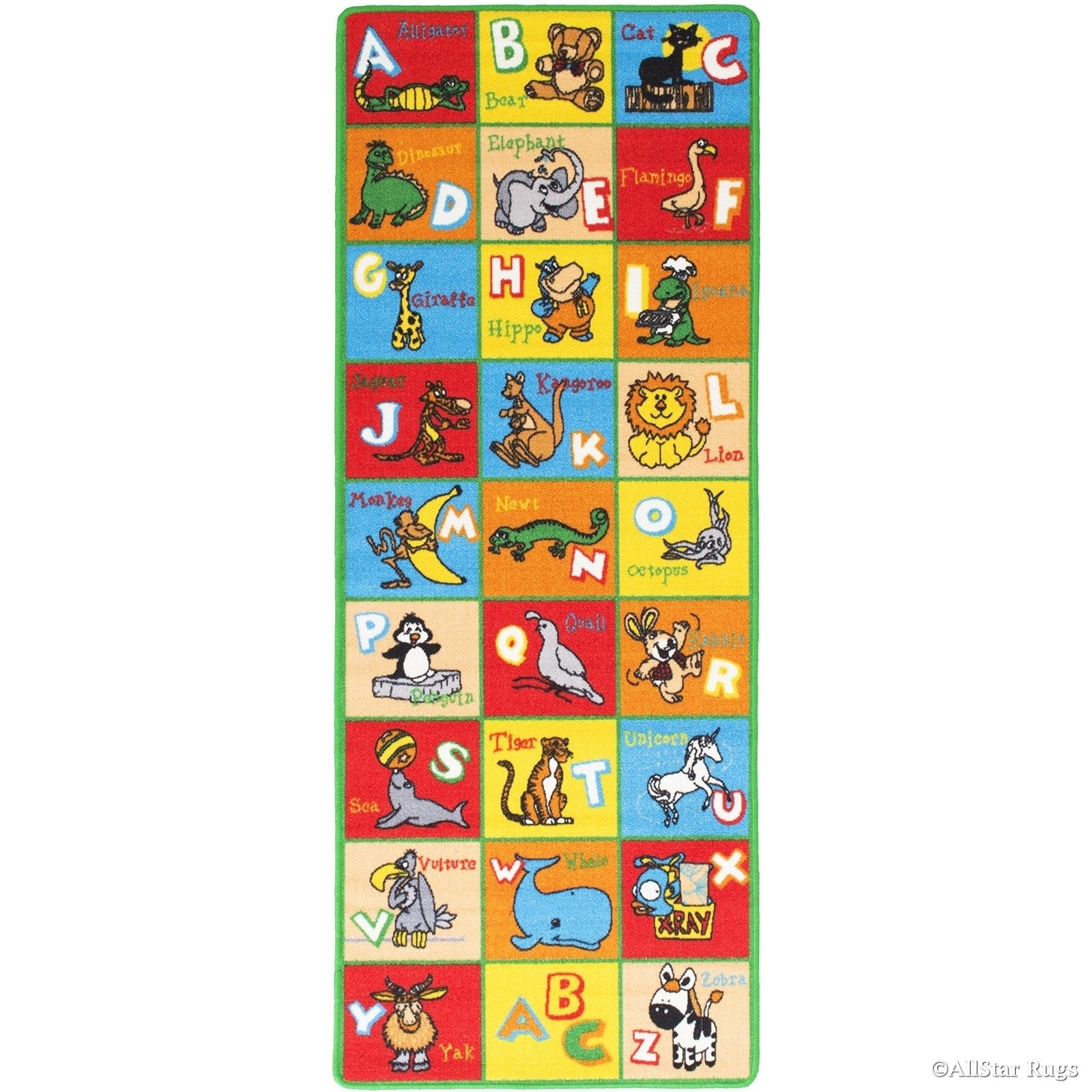 JA 4'11'' x6'11 ft Multi Colored Red Blue Yellow Orange Green White Abstract Patterned Kids Area Rug, Indoor Artistic Alphabet Letters Girl Boy Nursery Room Mat Rectangle Carpet, Animal Nylon Flooring by JA (Image #2)