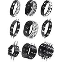 9 Pieces Punk Faux Leather Bracelet Spike Rivet Cuff Wrap Bangle Wide Snap Button Bracelets Metal Studded Wristband for…