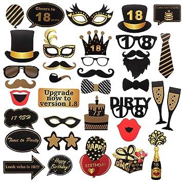 18th cumpleaños Photo Booth Props para Funny Dirty 18th Birthday Birthday and Black Decorations Suministros para fiestas, decoraciones y favores (35 ...