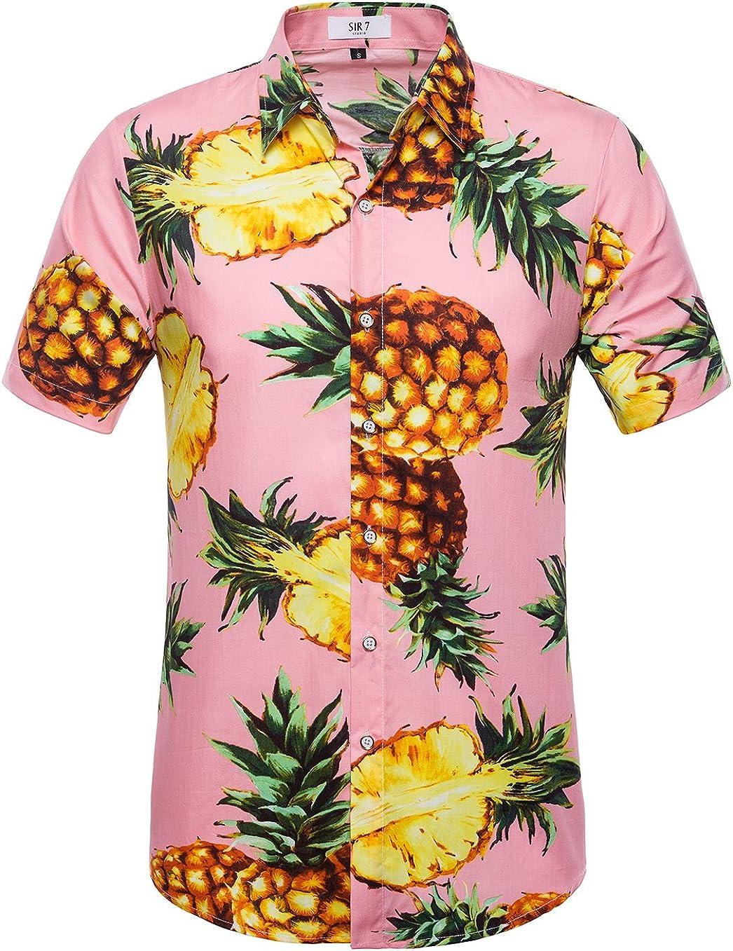 SIR7 Men's Hawaiian Flower Print Casual Button Down Short Sleeve Shirt