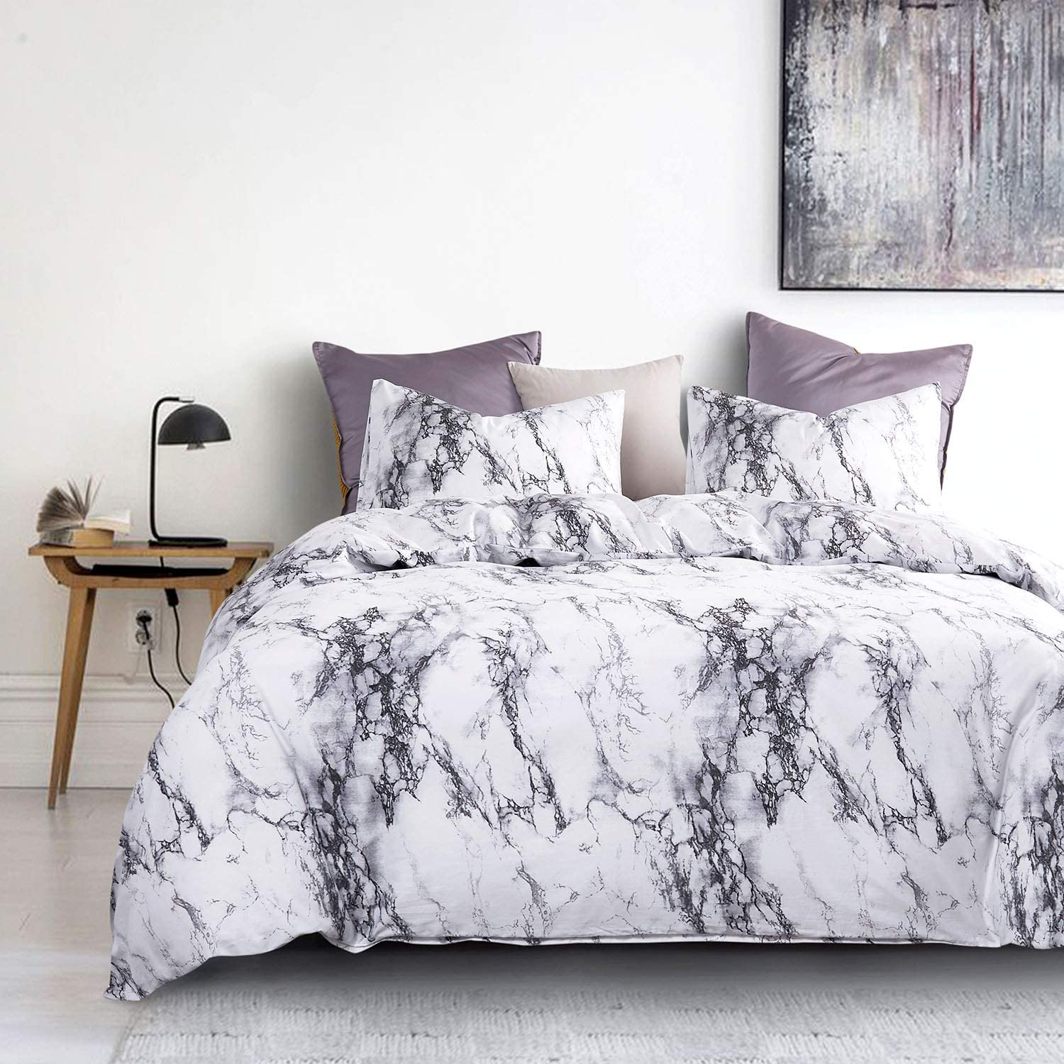 Marble Duvet Cover Set J A0022-BT3-Q 3pcs, Queen Size Black White and Gray Grey Modern Pattern Printed Soft Microfiber Bedding with Zipper Closure Wake In Cloud