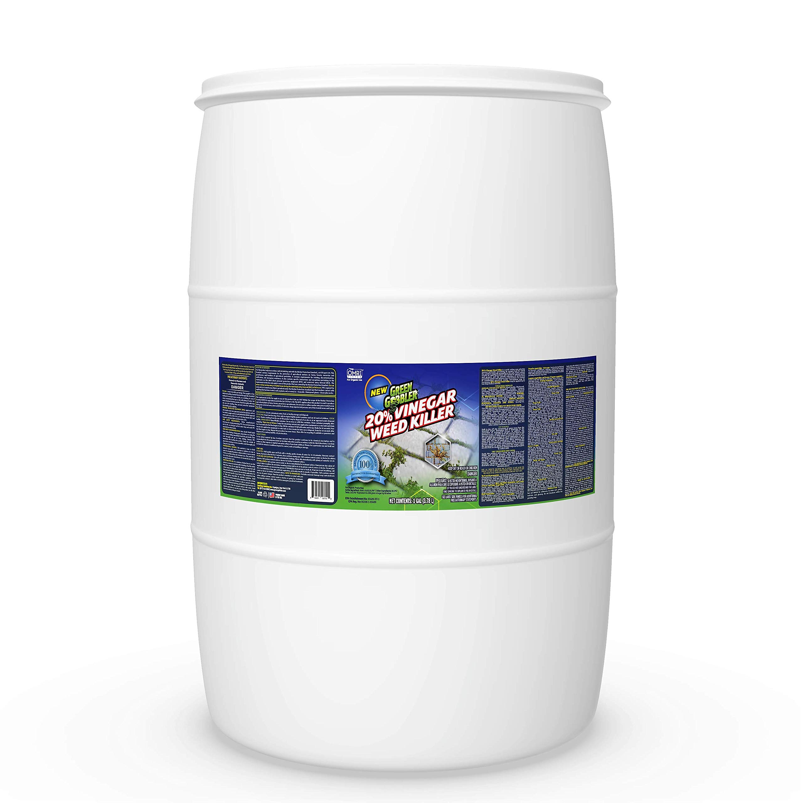 Green Gobbler 20% Horticultural Vinegar Weed Killer | Herbicide | Natural Weed Killer | Organic Weed Killer (55 Gallon Drum)