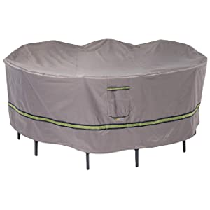 """Duck Covers Soteria Rainproof 76"""" Round Patio Table with Chairs Cover"""