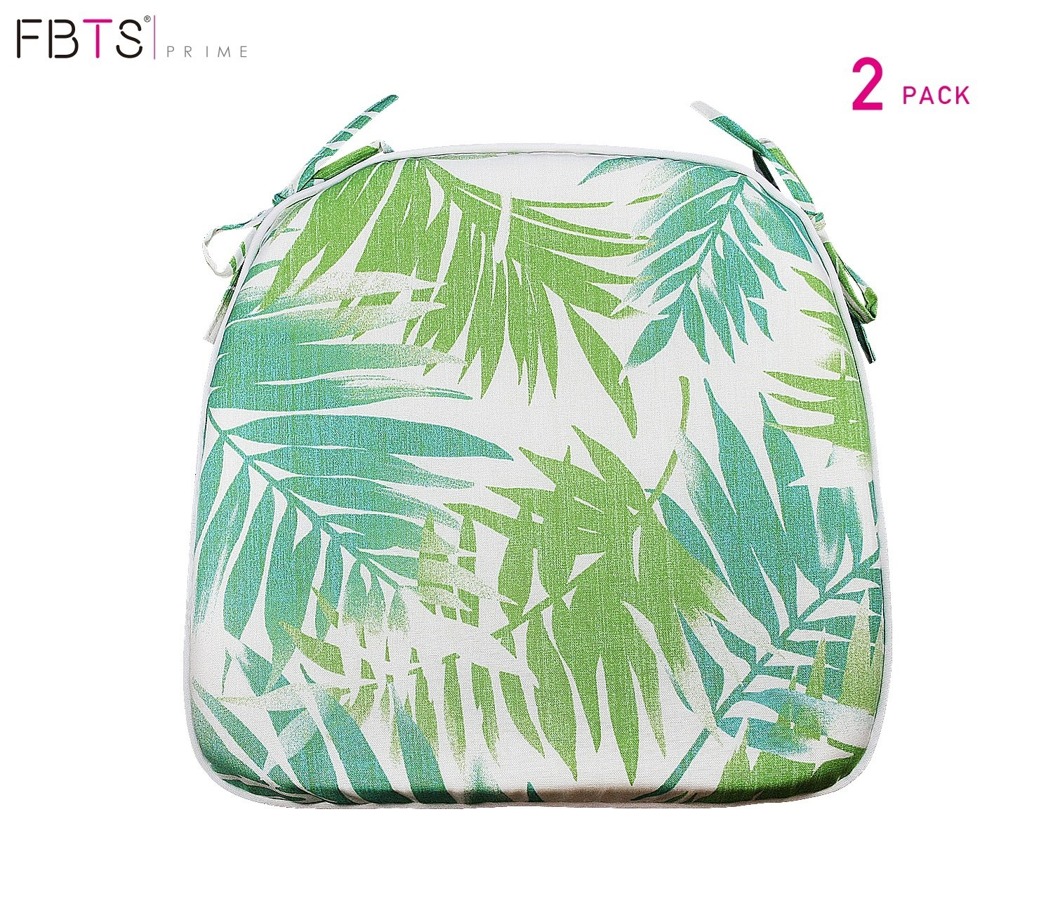 FBTS Prime Outdoor Chair Cushions (Set of 2) 16x17 inches Patio Seat Cushions Green Leaf Square Chair Pads for Outdoor Patio Furniture Garden Home Office