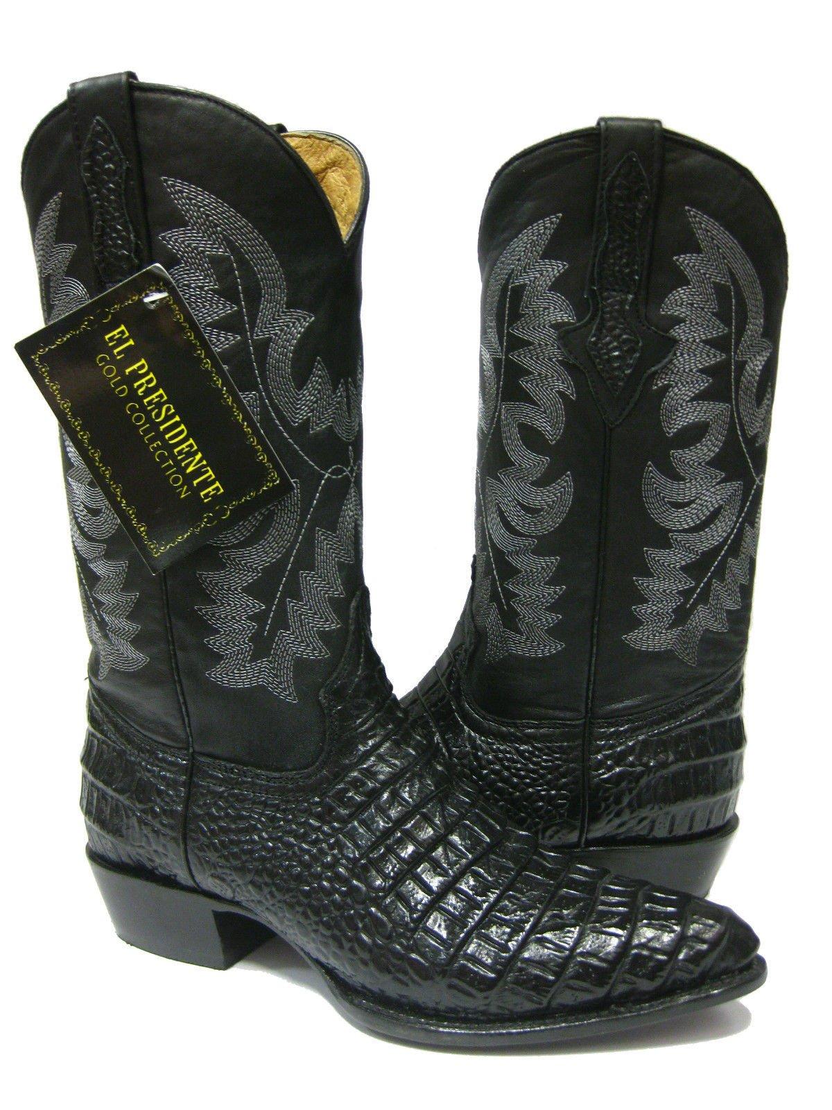 El Presidente Men's Black Crocodile Belly Design Leather Cowboy Boots J Toe 13.5 EE