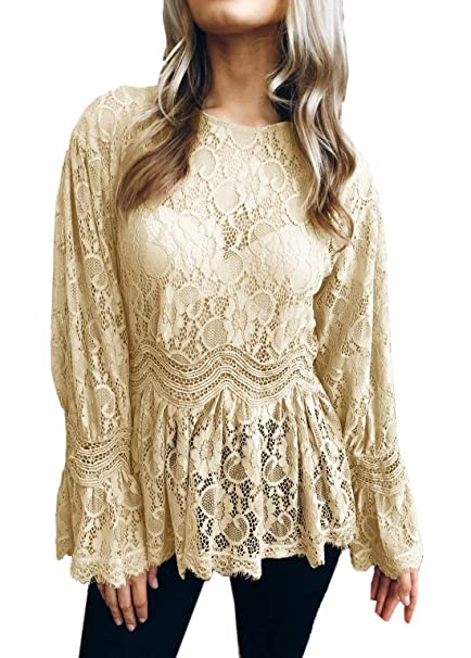 JackenLOVE Primavera y Otoño Mujeres Moda Encaje T-Shirt Remata tee Camisas Casual Cuello Redondo