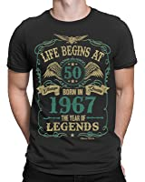 Life Begins At 50 Mens T-Shirt - BORN In 1967 Year of Legends 50th Birthday Gift - by Buzz Shirts ®
