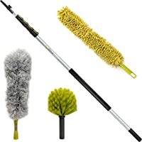 DocaPole 30 Foot High Reach Dusting Kit with 6-24 Foot Extension Pole // Cleaning Kit Includes 3 Dusting Attachments // Cobweb Duster // Microfiber Duster // Ceiling Fan Duster