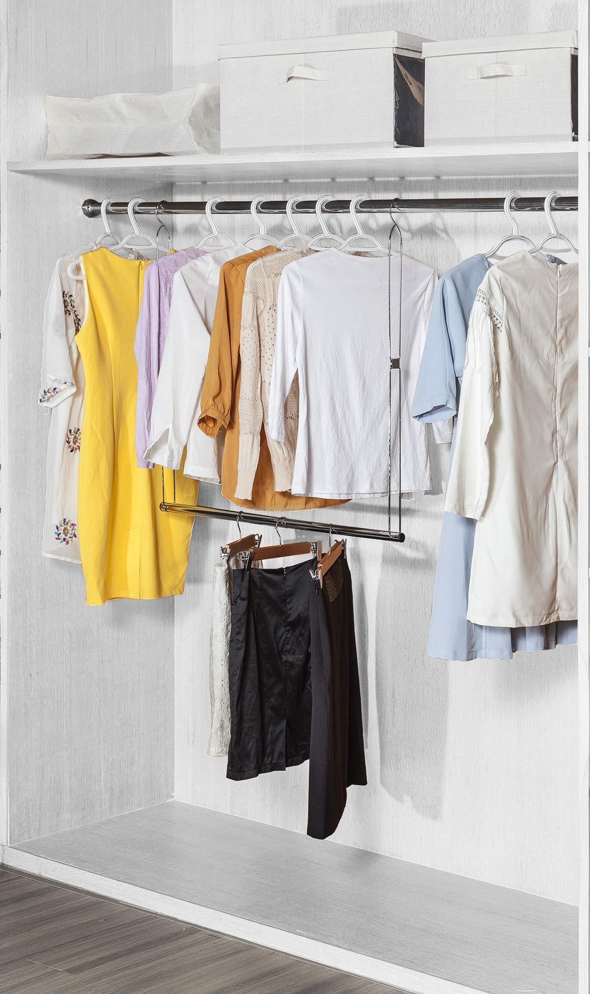 STORAGE MANIAC 2-Pack Adjustable Hanging Closet Rod, Double Hanging Closet Rod Organizer with Adjustable Horizontal Rod, Chrome by STORAGE MANIAC (Image #3)