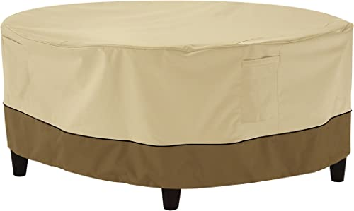 Classic Accessories Veranda Water-Resistant 34 Inch Round Patio Ottoman Coffee Table Cover