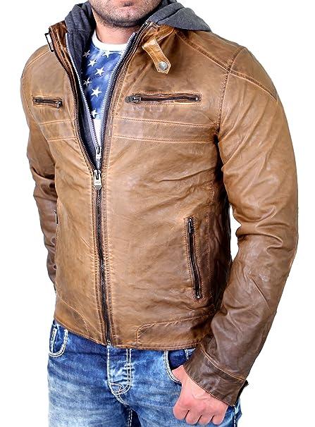 Reslad Chaqueta de Piel Hombre Chaqueta de de Piel sintética extraíble con Capucha de Sweater RS de 09 marrón Claro S: Amazon.es: Ropa y accesorios
