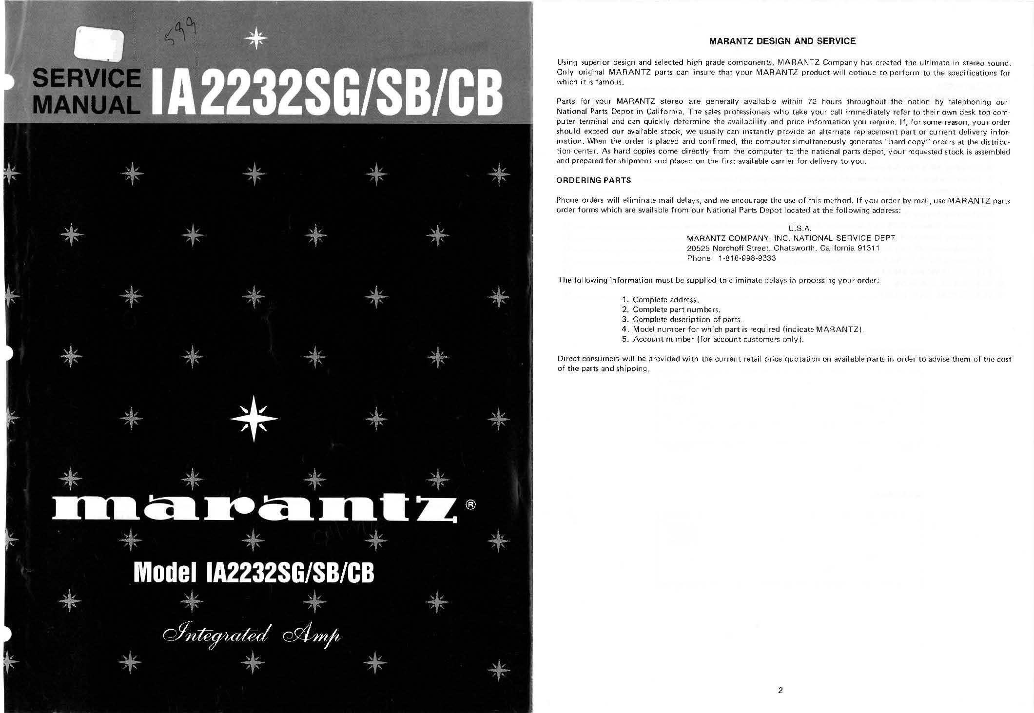 Customer service manual for retail array marantz ia2232sg service manual marantz amazon com books rh amazon fandeluxe Choice Image