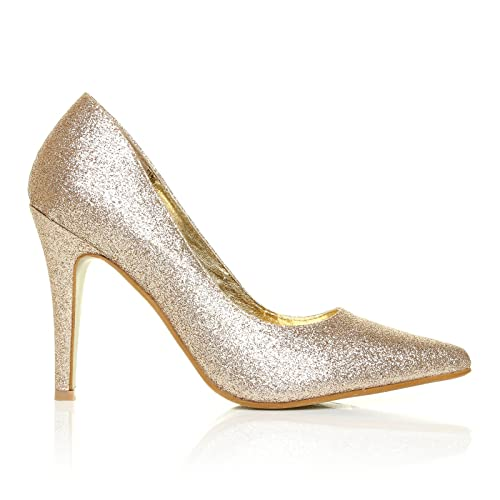 DARCY Champagne Glitter Stilleto High Heel Pointed Court Shoes Size UK 3 EU  36