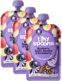 Tiny Spoons Organic Baby Food Puree - 6 Months+ With Blueberry + Apple + Banana + Strawberry 120 Grams Each (Pack Of 3)