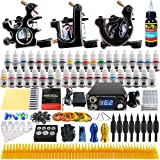 Solong Tattoo Complete Tattoo Kit 3 Pro Machine Guns 40 Inks Power Supply Foot Pedal Needles Grips Tips TK356