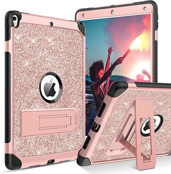 "BENTOBEN iPad Air (3rd Gen) 10.5"" 2019 Case, iPad Pro 10.5"" 2017 Case,Glitter Sparkly 3 Layers Heavy duty Shockproof Protective Hybrid Hard PC TPU Bumper Kickstand Kids iPad Air 3 Gen Cover, Rose Gold"