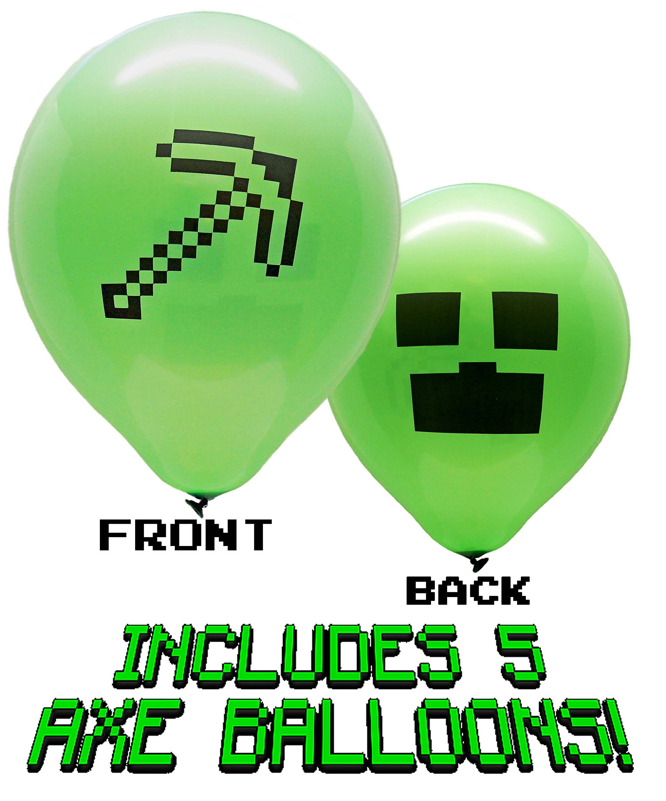 25 Pixel Style Miner Party Balloon Pack - Large 12'' Latex Balloons by Jade's Party Packs (Image #4)