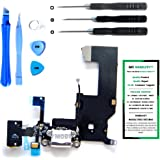 iPhone 5 Charge Port Dock, and Headphone Jack Flex Cable (White) Replacement Kit with DM Tools and Instructions Included - DIYMOBILITY