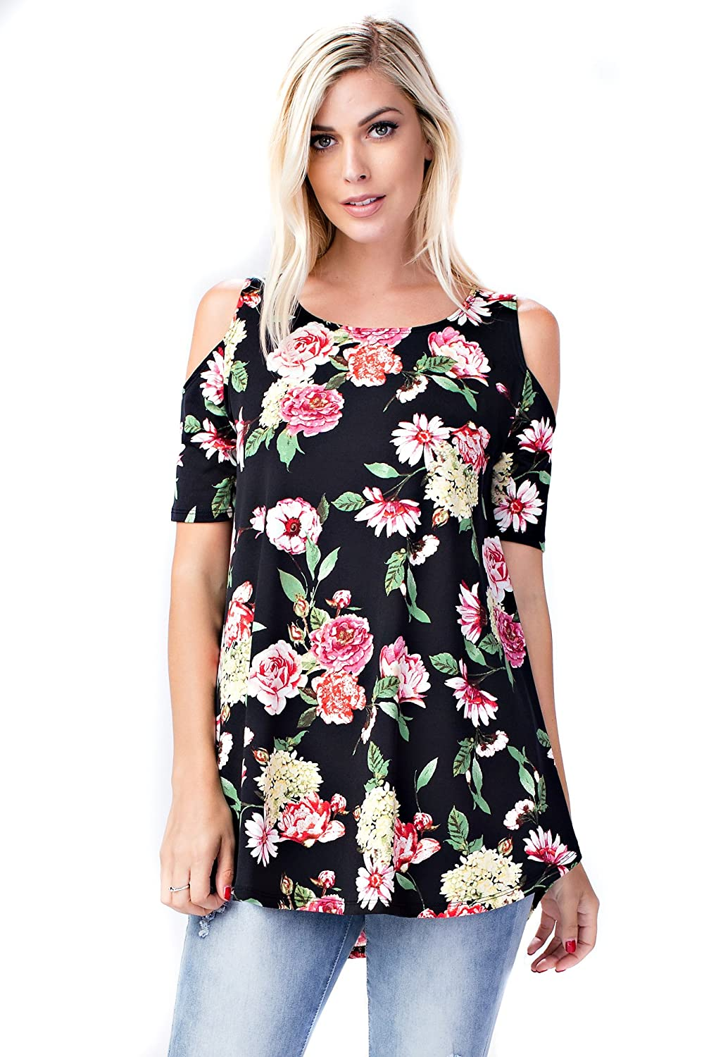 B3517 Black Fuchsia Floral Allora Betsy Red Couture Women's Cold Shoulder Soft Knit Tunic Top (S3X)
