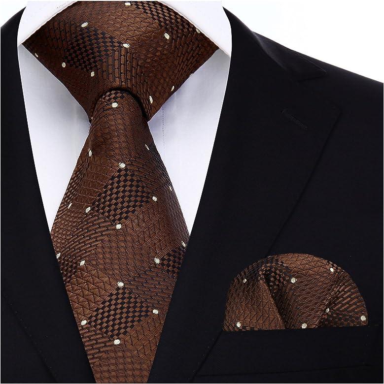 Men/'s Paisley Tie Handkerchief Set Classic Silk Wedding Suit Work Formal Necktie