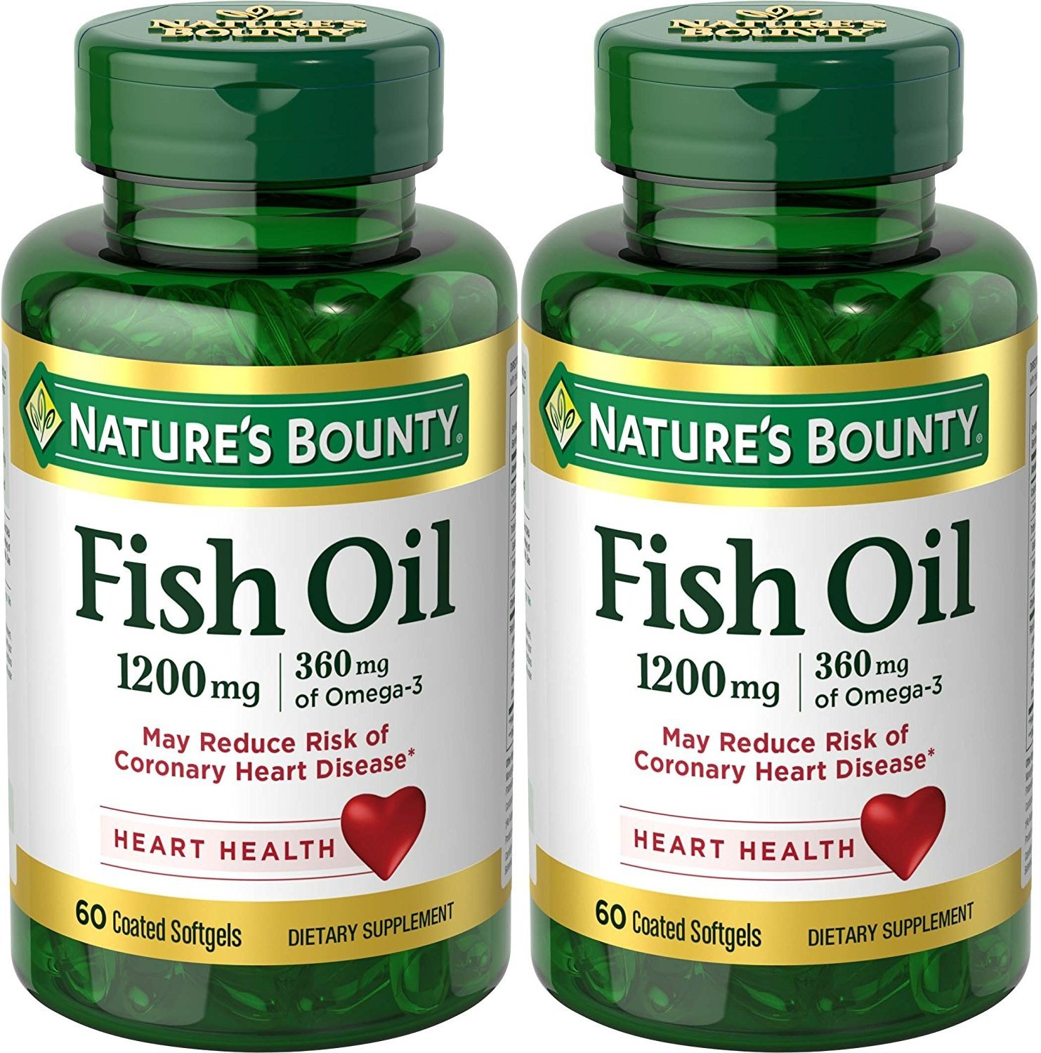 Nature's Bounty Odorless Fish Oil 1200mg, Omega 3, 120 Softgels (2 X 60 Count Bottles)