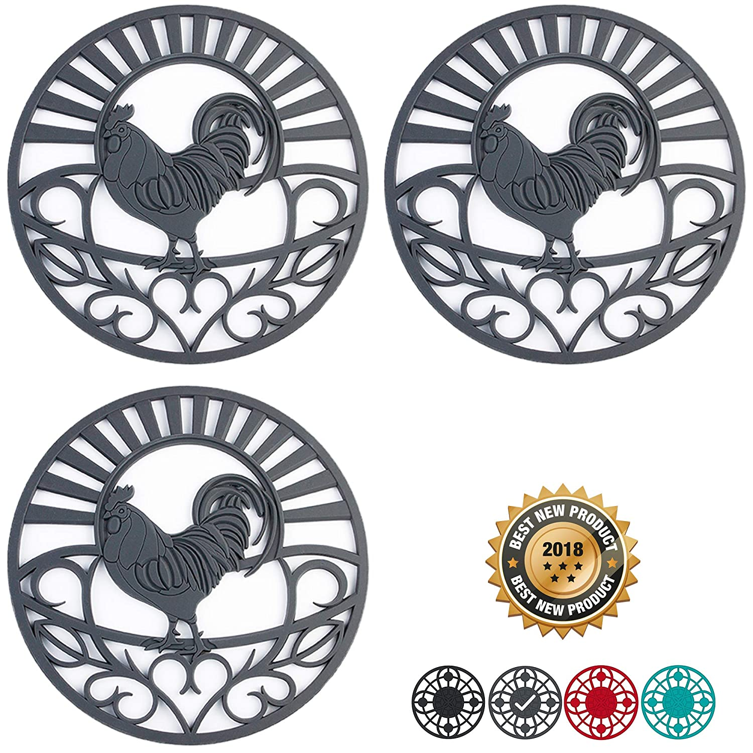 """Silicone Trivet Set For Hot Dishes   Modern Kitchen Hot Pads For Pots & Pans   Country Rooster Design (Symbol of Prosperity & Good Luck) Mimics Cast Iron Trivets   7.5"""" Round, Set of 3, Dark Gray"""