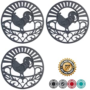 "Silicone Trivet Set For Hot Dishes | Modern Kitchen Hot Pads For Pots & Pans | Country Rooster Design (Symbol of Prosperity & Good Luck) Mimics Cast Iron Trivets | 7.5"" Round, Set of 3, Dark Gray"