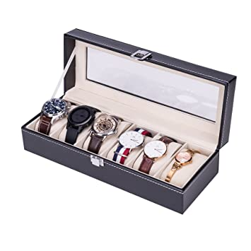 CO-Z Caja para Relojes Estuche de JoyasCaja Bloqueable 6 Cuadrículas Impermeable Elegante de Cuero (Negro): Amazon.es: Hogar
