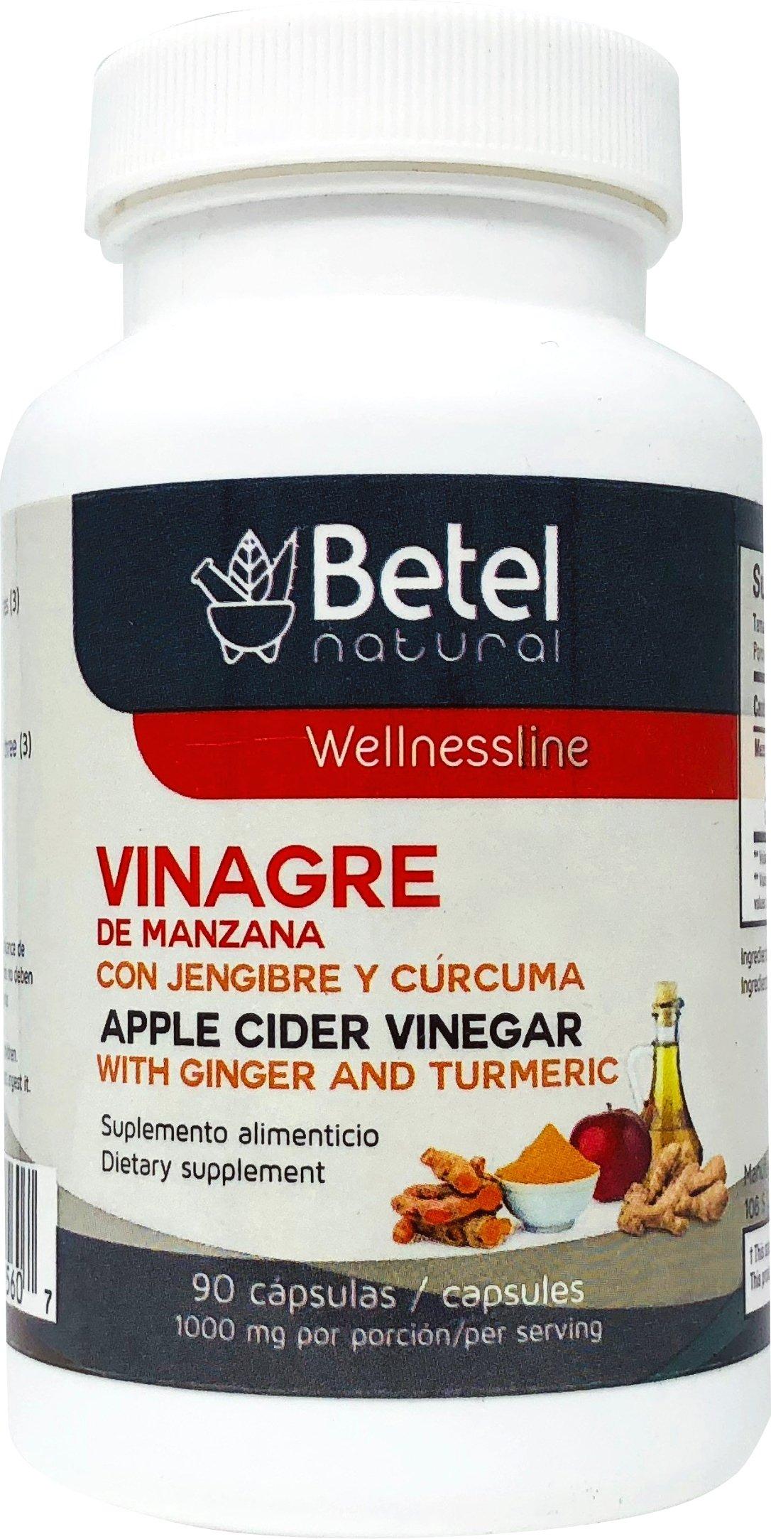 Vinagre de Manzana con Jengibre y Curcuma - Apple Cider Vinegar with Ginger and Turmeric by Betel Natural - 90 Caps