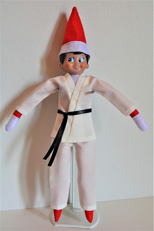 Handmade Doll Clothes White Karate Uniform Gi Judo TKD fits The Elf Soft Doll Christmas
