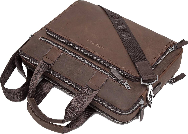 Bison Denim Mens Genuine Leather Briefcase Hand Bags Satchel