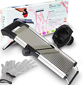 Adjustable Manual Mandoline Slicer Stainless Steel - Kitchen Food Cutter and Chopper For Vegetable Julienne Zucchini and Fruit. Chip from Potato and Onion - Food Grater with Pair Cut-Resistant Gloves