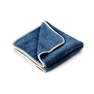 Maxshine 600GSM Ultimate Crazy Microfiber Towel with Silver Silk Border (Dark Blue, 40×60cm): Automotive