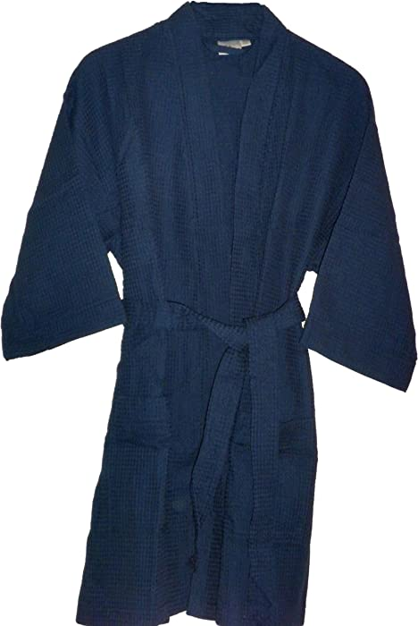 0ac9513a44 Navy Blue Monogrammed Bathrobes Bridesmaids Gifts Cotton Waffle at Amazon  Women s Clothing store
