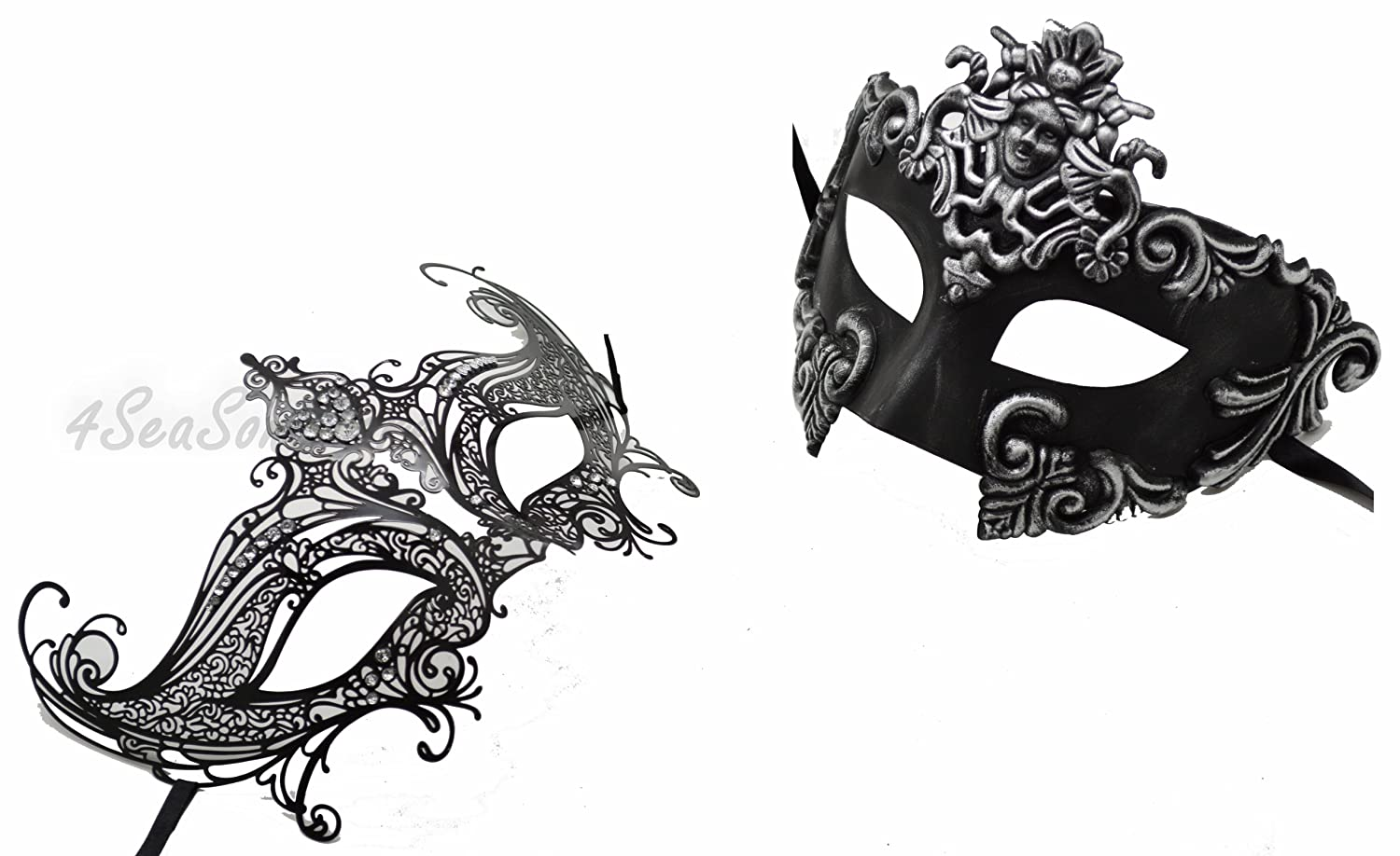 HIS N HERS PAIR COUPLES WHITE /& SILVER VENETIAN MASQUERADE PARTY PROM EYE MASKS