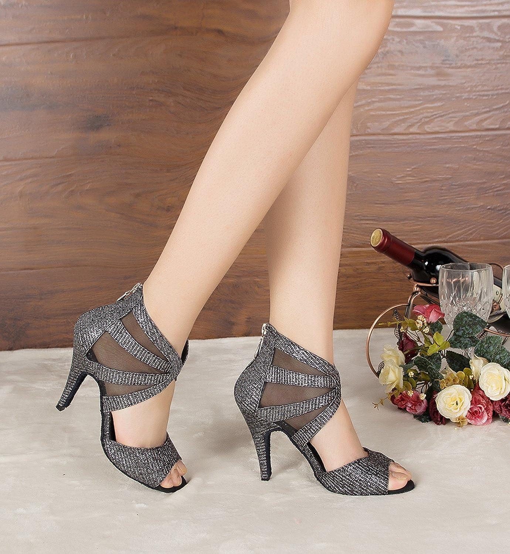 Minishion Womens TH166 Zipper Covered Heel Mesh Wedding Ballroom Latin Taogo Dance Sandals