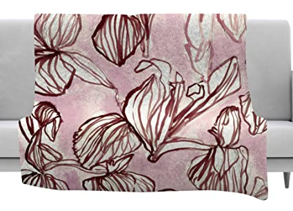 Kess InHouse Mmartabc Watercolor Flowers and Leaves Beige Pink Illustration Throw 40 x 30 Fleece Blanket