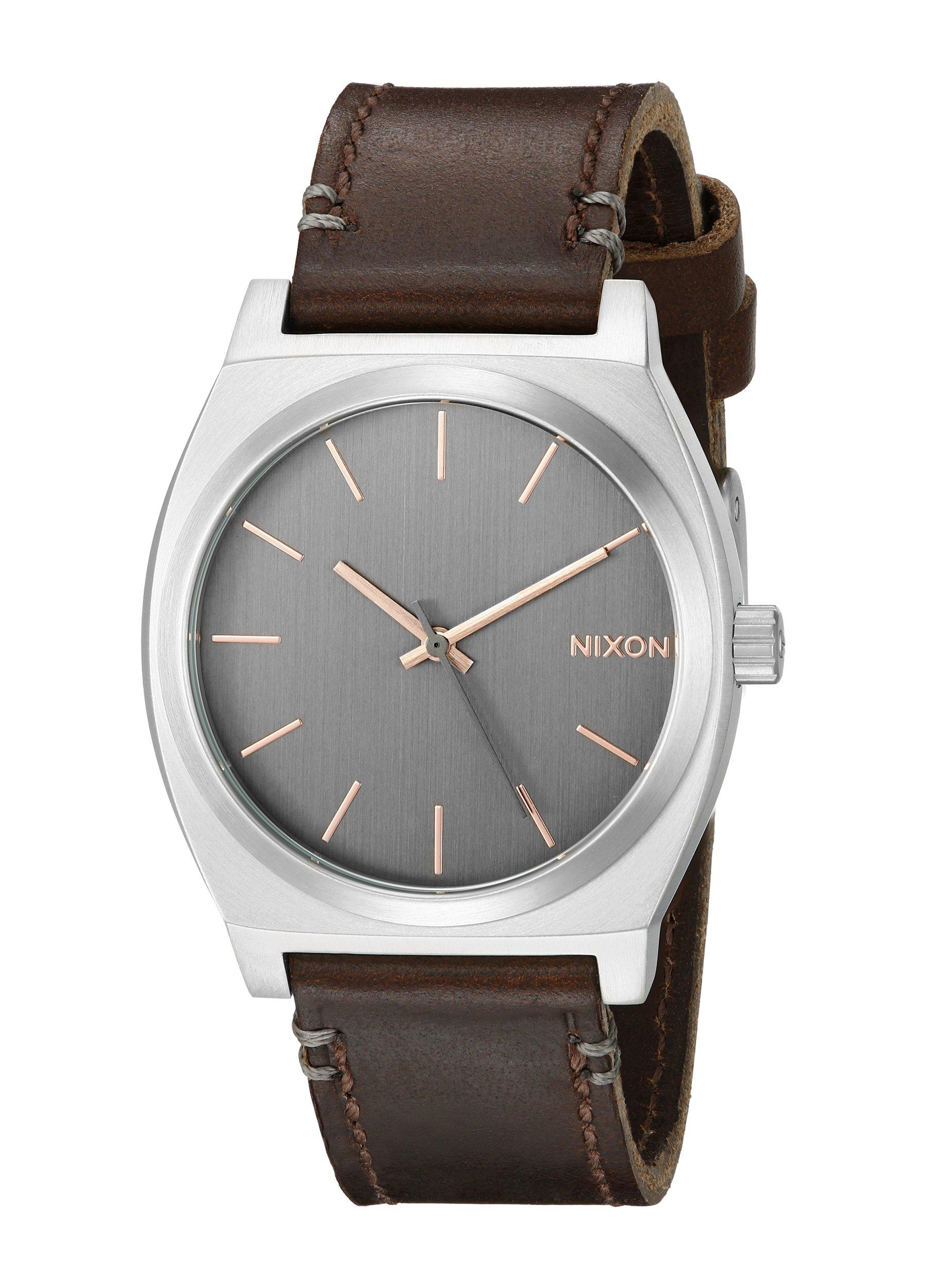 NIXON A0452066 Men's Time Teller Gray/Rose Gold Analog Display Quartz Watch, Brown Leather Band, Round 37mm Case