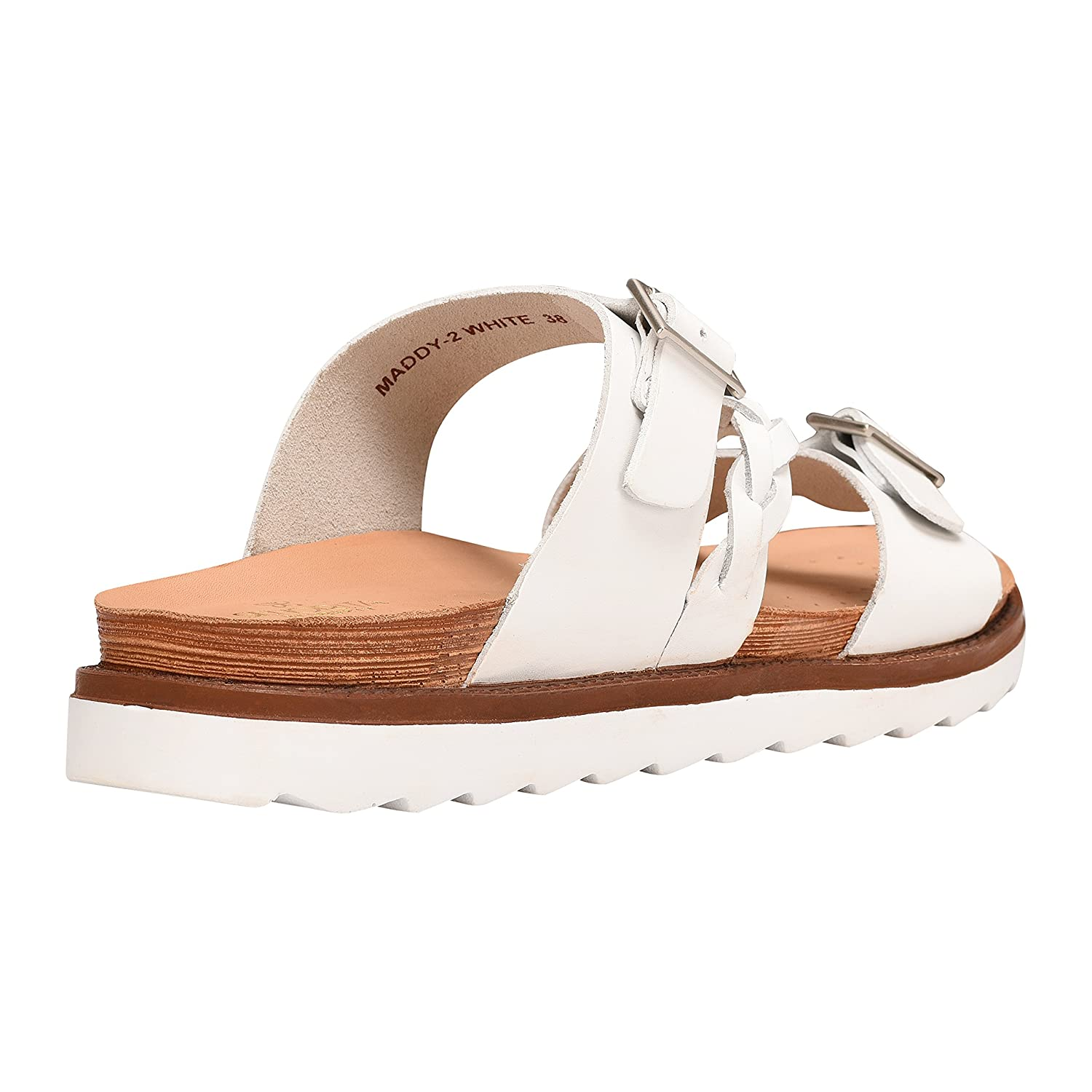 Liberty Women's Leather Slide On Sandals Double Strap Buckle Braided Platforms B07BWJRPK9 10 M US|Pearl White