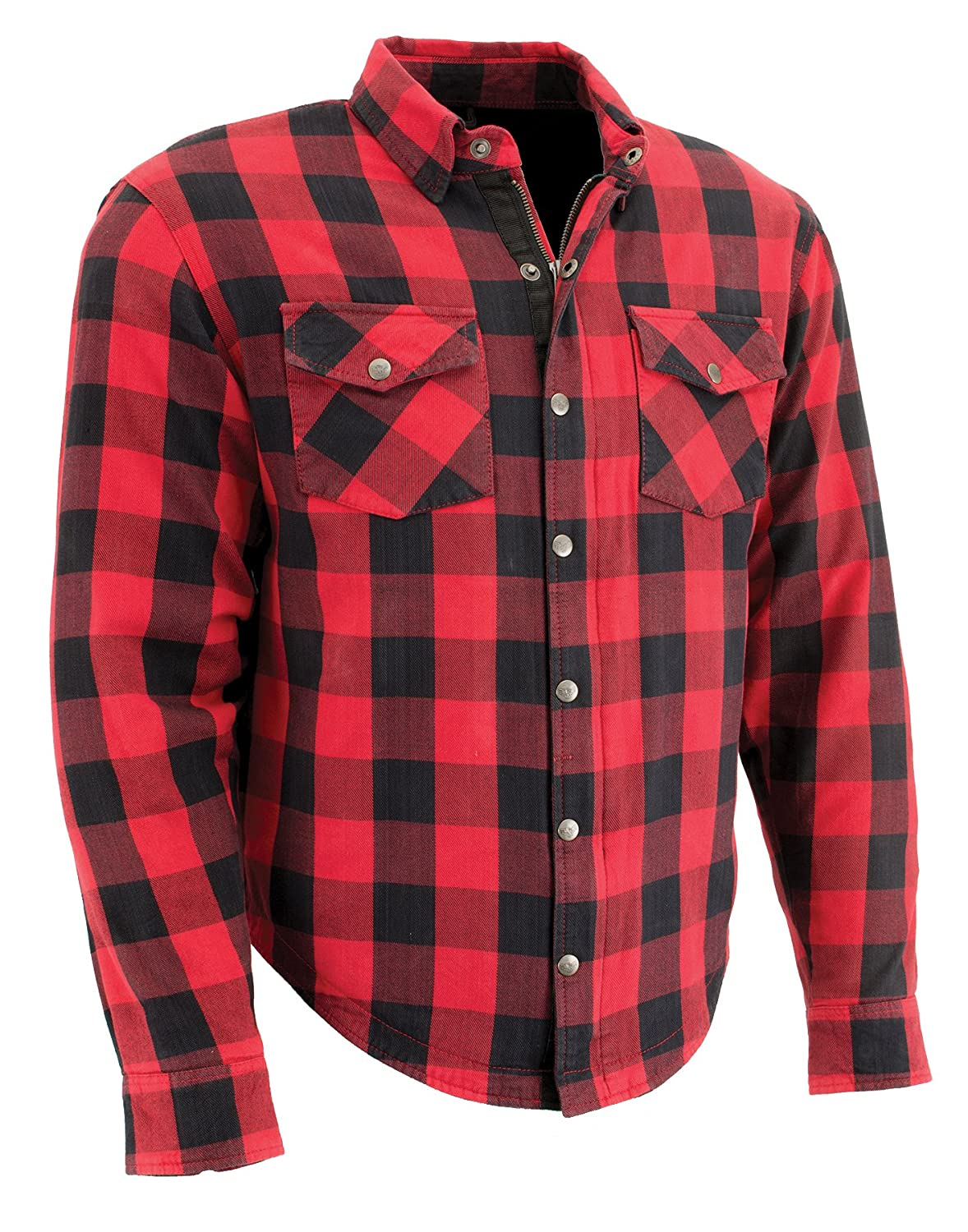 Milwaukee Performance MPM1631-BLK/RED-2X Men's Checkered Flannel Biker Shirt with Aramid Black/Red, 2X