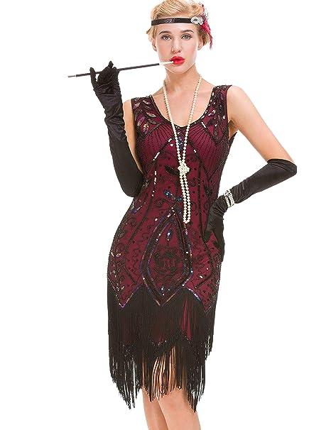 Donna Da Vintage 1920 Gatsby Charleston Flapper Vestito Jazz KlFJuc3T1