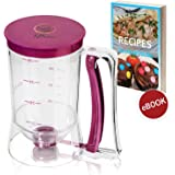 Pancake & Cupcake Batter Dispenser - Perfect Baking Tool for Cupcakes, Waffles, Muffin Mix, Crepes, Cake or Any Baked Goods - KPKitchen Easy Pour Home Food Gadget - Bakeware Maker with Measuring Label