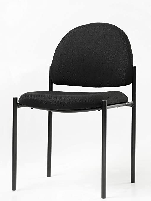Office Factor Stackable Guest Chair, Fabric Upholstered Waiting Room Chair  for Business, Doctor\'s Office, Lobbies, Extra Seating (Black-Fabric NO ...
