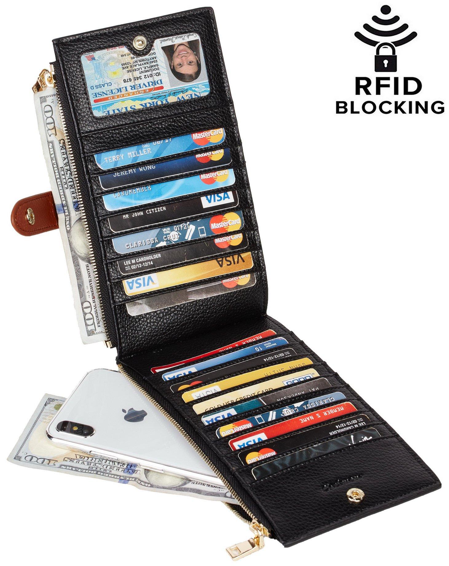 Chelmon Womens Genuine Leather Wallet RFID Blocking Credit Card Holder Zipper Purse(isabella black)
