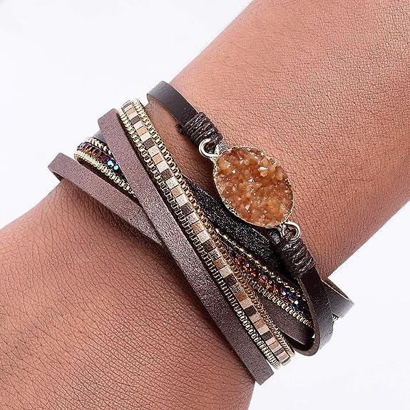 Gifts for Women Bohemian Chic Vegan Leather Bracelet for Women Magnetic Bracelet Single Wrap Bracelet Green Leather Bracelet