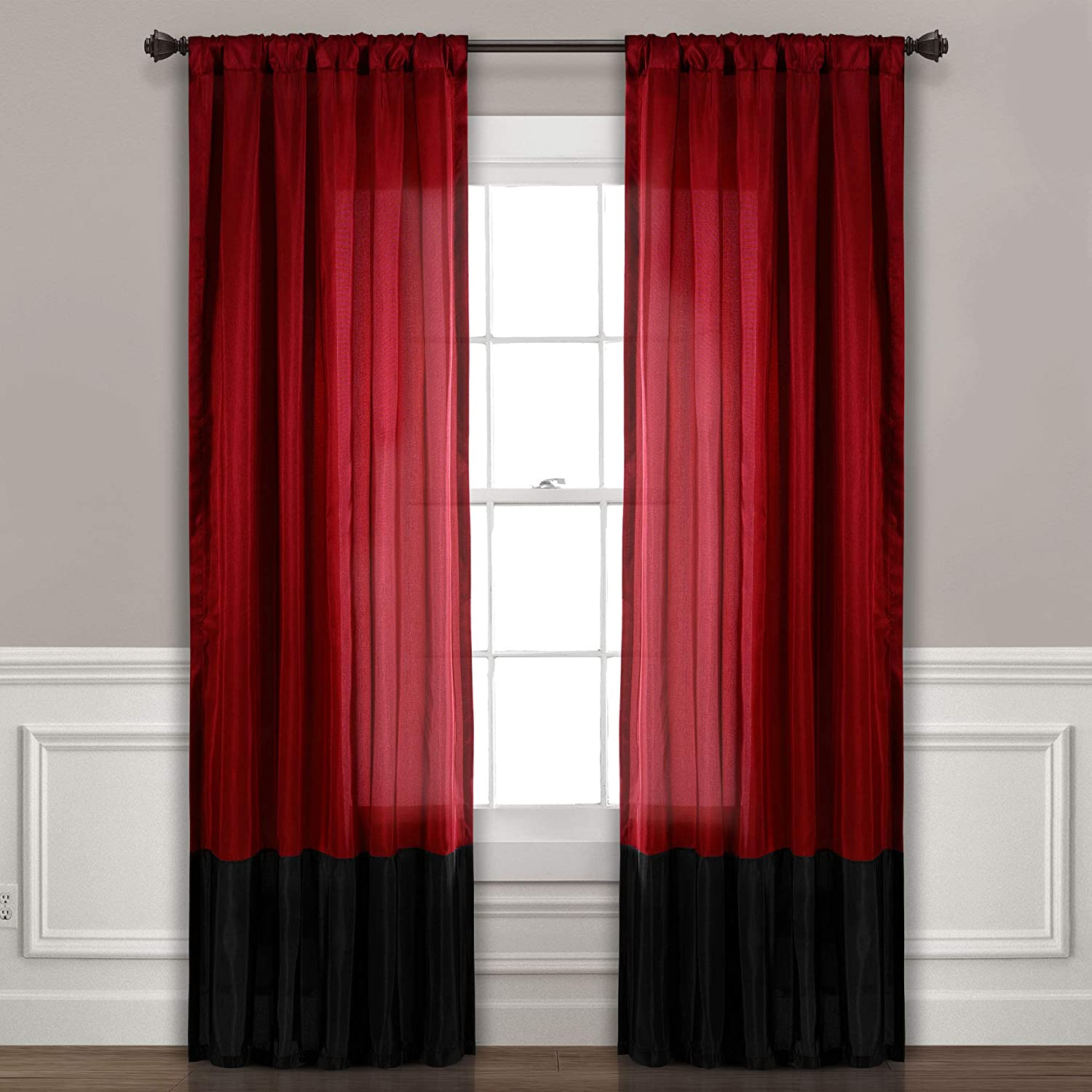 "Lush Decor Milione Fiori Window Curtains Panel Set for Living, Dining Room, Bedroom (Pair), 84"" x 42"" Red/Black"