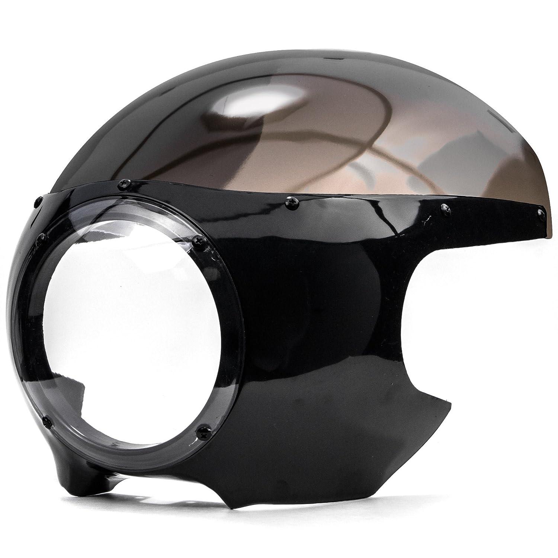 Krator Motorcycle 5-3//4 Headlight Fairing Screen Black /& Smoke Retro Cafe Racer Drag for Harley Davidson Sportster 1200 2004-2009