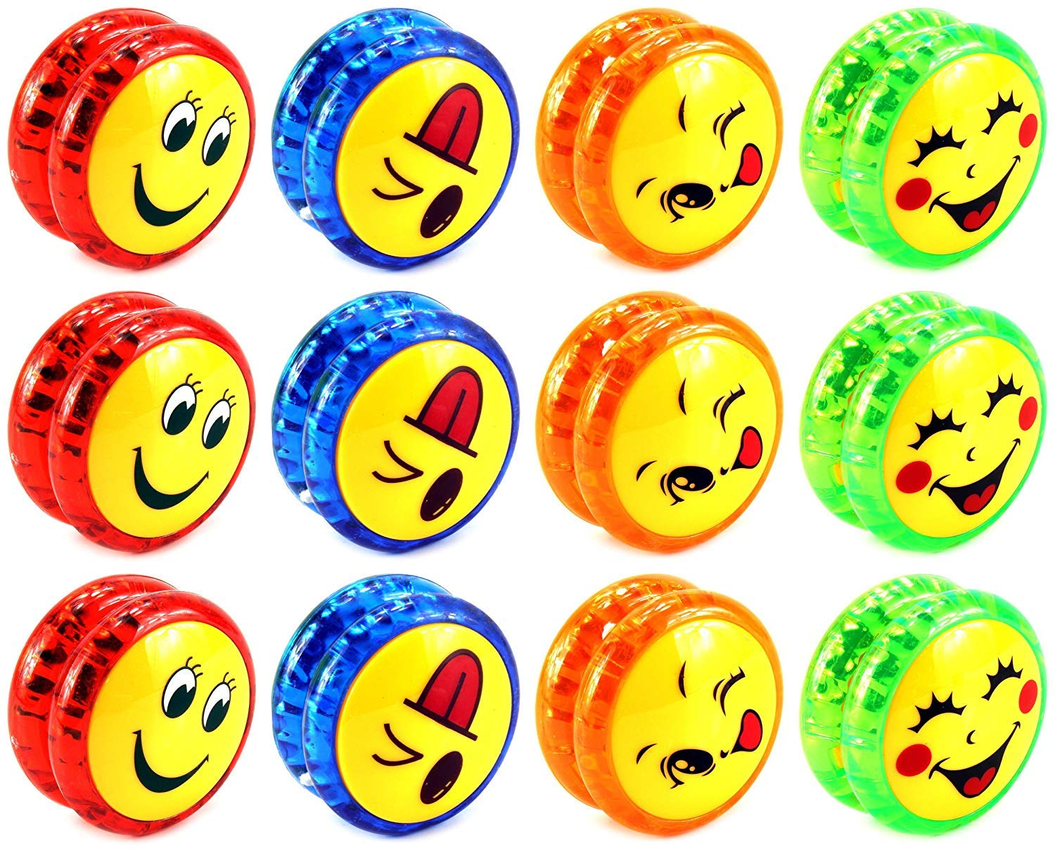 AJ Toys & Games 12 PCS Yoyo 'Smiley Faces' Light Up Children's Kid's Toy Yoyo (Colors May Vary)