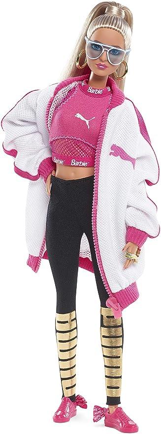 Barbie DWF59 Barbie Signature Puma Puppe blond, Sammlerpuppe in Sportkleidung und Sneaker zur Feier des 50. Geburtstags des Puma Suede Sneaker
